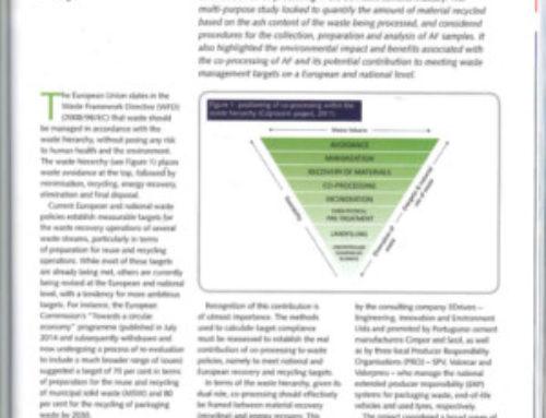 Artículo de coprocesado, recuperación material de fueles alternativos en la industria del cemento (ATIC)
