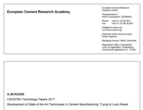 Development of State of the Art Techniques in Cement Manufacturing: Trying to Look Ahead